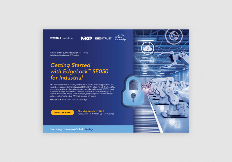 Edge Lock SE050 by NXP | webinar invitation by Flair Creatives
