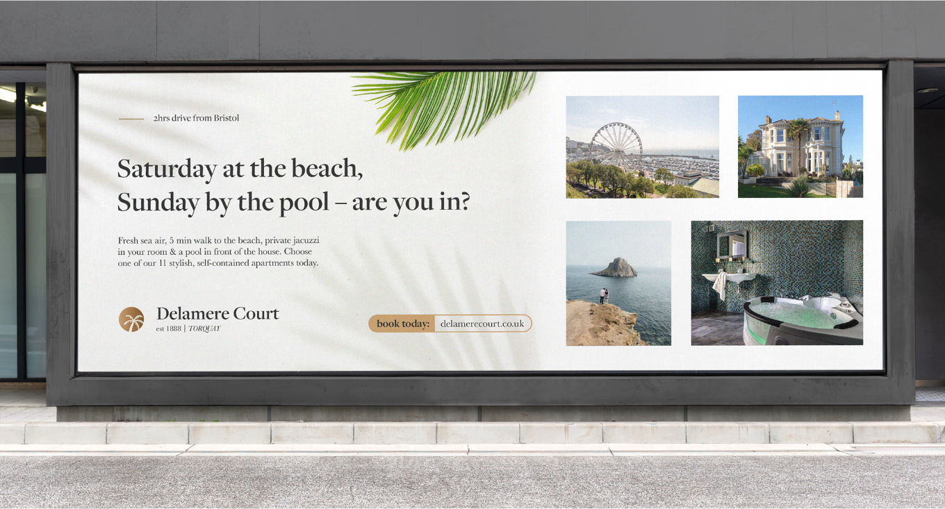 Flair Creatives large format outdoor advertising for Delamere Court