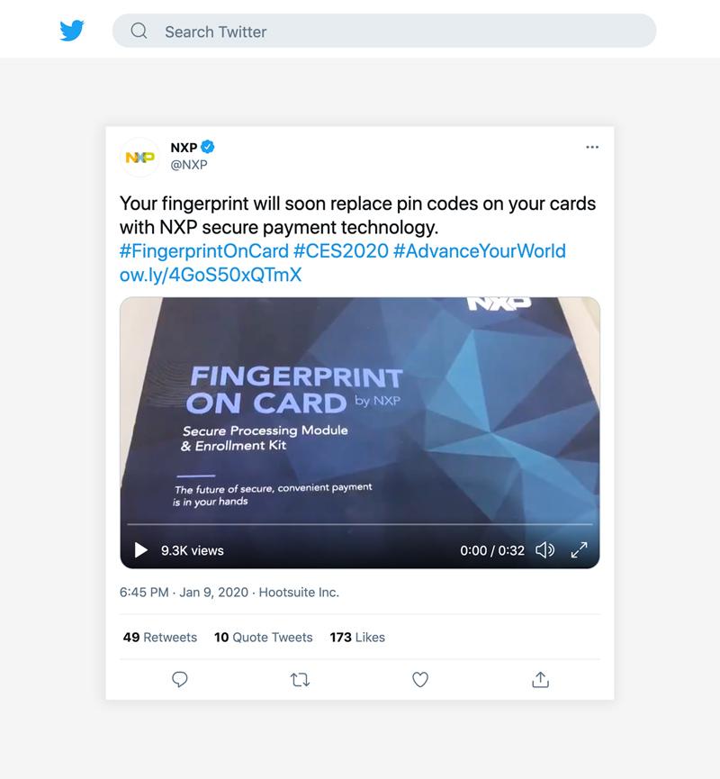 NXP Twitter post fingerprint on card box by Flair Creatives at CES 2020 Las Vegas